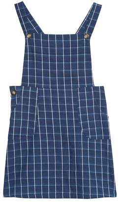 WALKING ON SUNSHINE Windowpane Pinafore Dress (Big Girls)