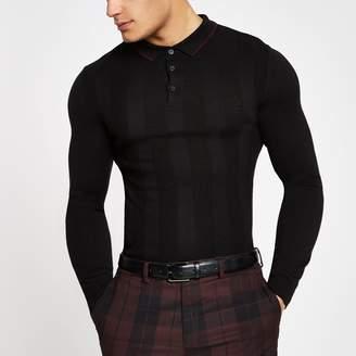 River Island Mens Black muscle fit long sleeve polo shirt