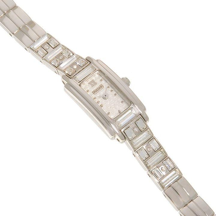 Pulsar® silver-tone rectangular crystallized™ watch