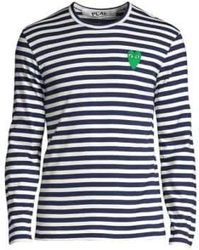 Comme des Garcons Stripe Heart-Embroidered Long-Sleeve Tee