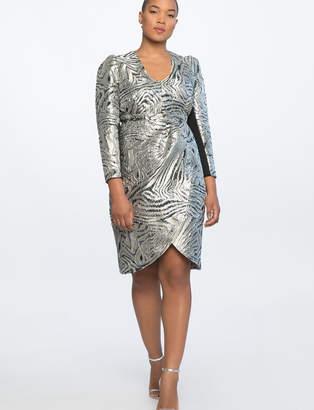 V-Neck Sharp Shoulder Dress