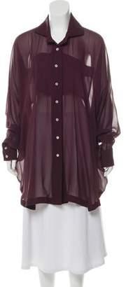 Billy Reid Oversize Sheer Button-Up Blouse