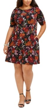 Connected Plus Size Floral-Print Fit & Flare Dress