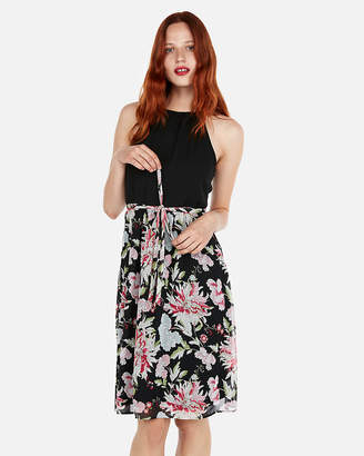 Express Floral Tie Waist High Neck Midi Dress