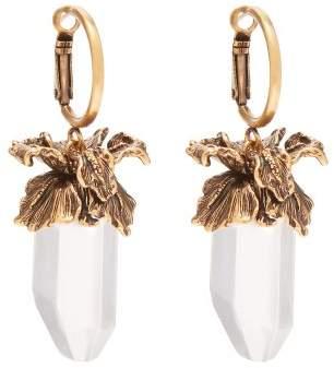 Alexander McQueen Iris Pendant Drop Earrings - Womens - Clear