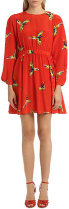 Diane von Furstenberg Long Sleeve Waist Tie Draped Mini Dress