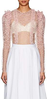 Laura Garcia Collection Women's Agnes Embroidered Tulle Crop Top - Pink