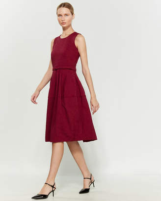 Samantha Sung Tobey Solid Silk Fit & Flare Dress