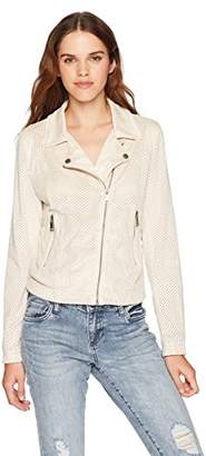 Vigoss Women's Perforated Faux Suede Moto Jacket