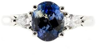 Vintage Platinum with 2.35ct Blue Light Blue Sapphire & .50CT Pear Diamond Ring Size 5.75