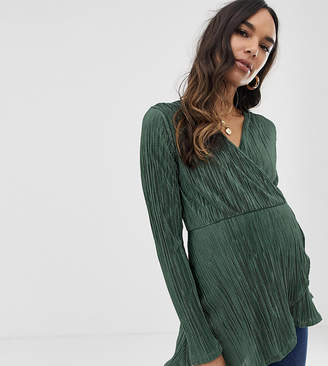 Asos DESIGN Maternity long sleeve wrap top in plisse with asymmetric hem