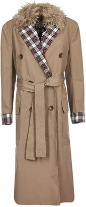 Isa Arfen Fur Collar Trench Coat