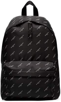Balenciaga black diagonal logo print backpack