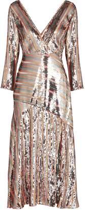 Rixo Tyra Striped Sequin Midi Dress