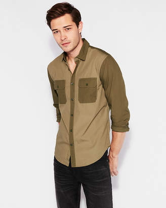 Express Slim Military Patch Pocket Cotton Shirt