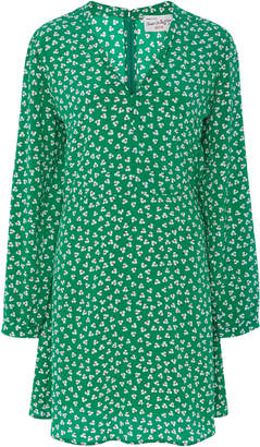 HVN Lou Printed Silk-Crepe Mini Dress
