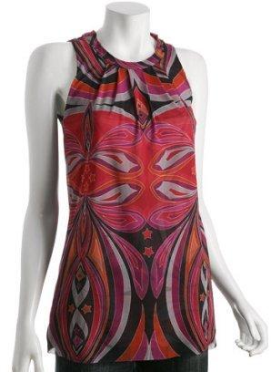 Sweet Pea red geometric printed mesh halter tie top