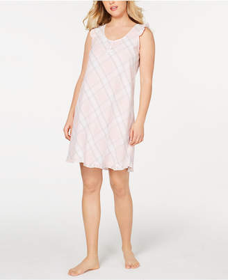 Miss Elaine Printed and Ruffled Seersucker Nightgown