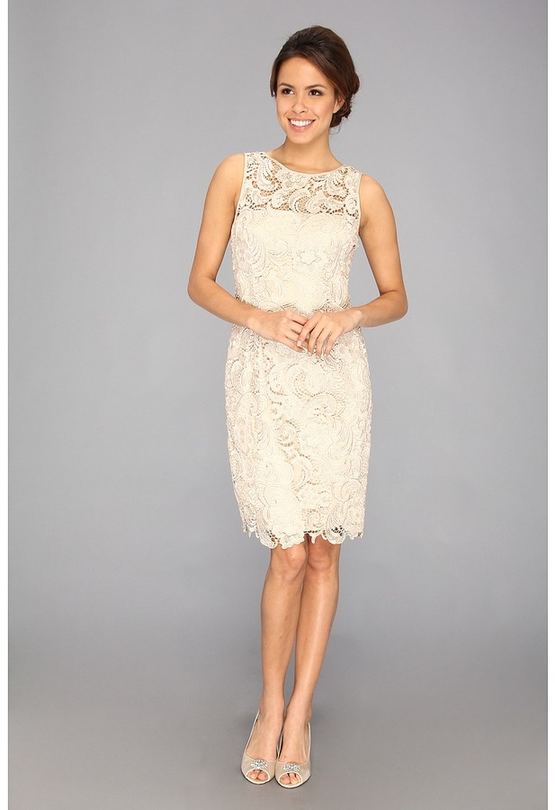 Adrianna Papell Illusion Neck Lace Dress (Navy) - Apparel