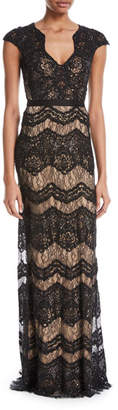 Catherine Deane Katharine Floral Lace V-Neck Gown