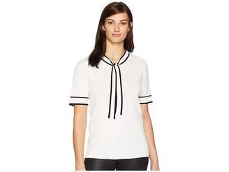 Tahari ASL Short Sleeve Contrast Trim Tie Neck Sweater Women's Sweater
