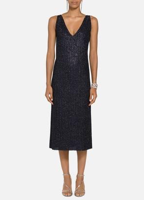 St. John Beaded Metallic Texture Dress