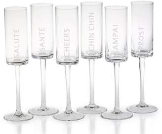 Zodax Toast Set of 6 Champagne Flutes