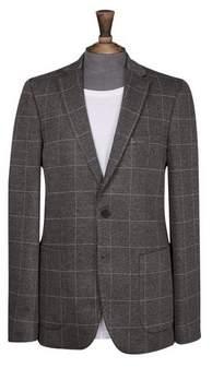 Burton Mens Grey Windowpane Slim Fit Jersey Stretch Blazer