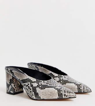 Asos Design DESIGN Wide Fit Wesley mid heel mules in snake