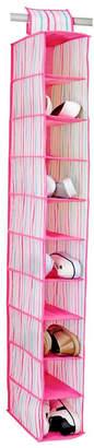 Laura Ashley 10 Shelf Hanging Shoe Organizer in Painterly Pink Stripe