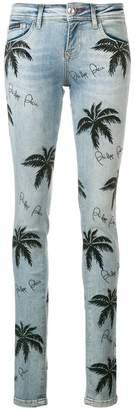 Philipp Plein palm tree print skinny jeans