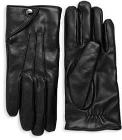 Salvatore Ferragamo Nero Leather Gloves