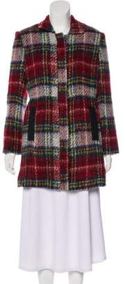 L'Agence Vegan Leather-Trimmed Plaid Coat