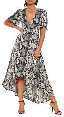 Missguided Printed Wrap Front Midi Dress