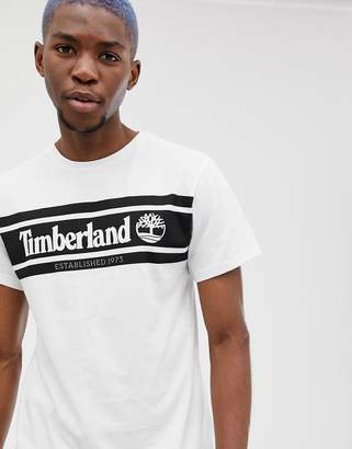 Timberland (ティンバーランド) - Timberland Chest Stripe Logo T-Shirt Slim Fit in White