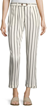 Willow & Clay Striped Rolled-Cuffs Crepe Pants $65 thestylecure.com