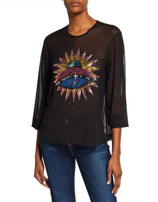 Melissa Masse Sequin Spaceship 3/4-Sleeve Dot Mesh Blouse