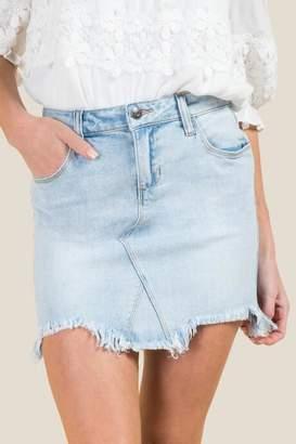 francesca's Harper Lite Chewy Hem Denim Skirt - Lite