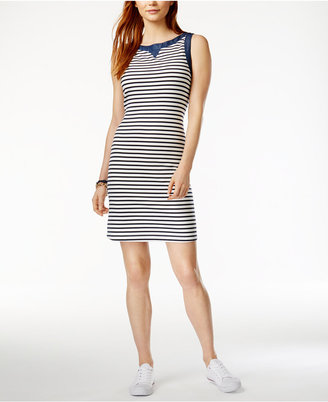 Tommy Hilfiger Striped Chambray-Contrast Dress, Only at Macy's $99.50 thestylecure.com