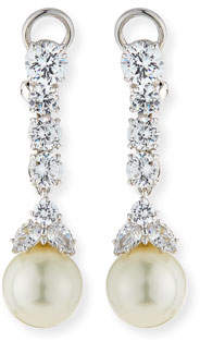 FANTASIA CZ & Simulated Pearl Long Drop Earrings
