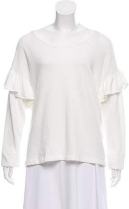 Current/Elliott Ruffle-Accented Long Sleeve Top w/ Tags