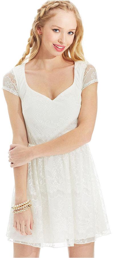 Trixxi Juniors' Short-Sleeve Lace-Print Dress