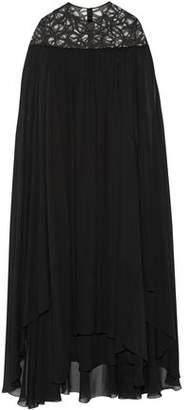 Elie Saab Cap-Effect Lace-Paneled Silk-Blend Georgette Gown