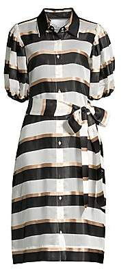 Lisa Marie Fernandez Women's Stripe Puff-Sleeve Shirtdress