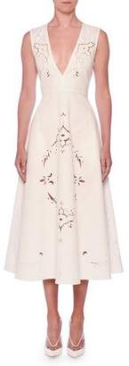 Stella McCartney V-Neck Sleeveless Embroidered Anglaise A-Line Midi Dress