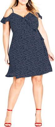 City Chic Spot Cold Shoulder Wrap Dress