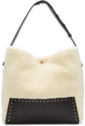 Stella McCartney White Small Shearling Hobo Bag