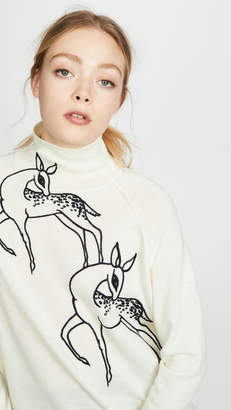 Victoria Victoria Beckham Funnel Neck Deer Embroidered Sweater