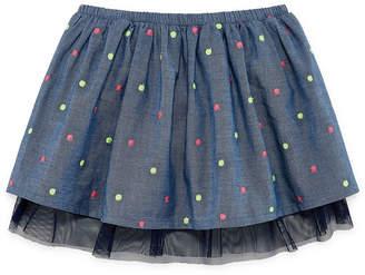 Okie Dokie Chambray Polka Dot Skirt - Baby Girl NB-24M
