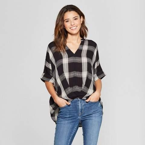 Universal Thread Women's Wrap Front Plaid Blouse - Universal Thread Black